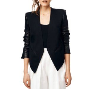 Helmut Lang Smoking Tuxedo Blazer Leather Sleeves